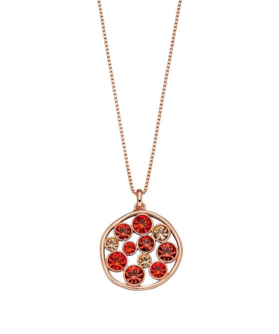 Image for Fiorelli Silver Womens 925 Sterling Silver Rose Gold Plated Orange Shade Preciosa Crystal Round Pendant Necklace of Length 41cm + 5cm