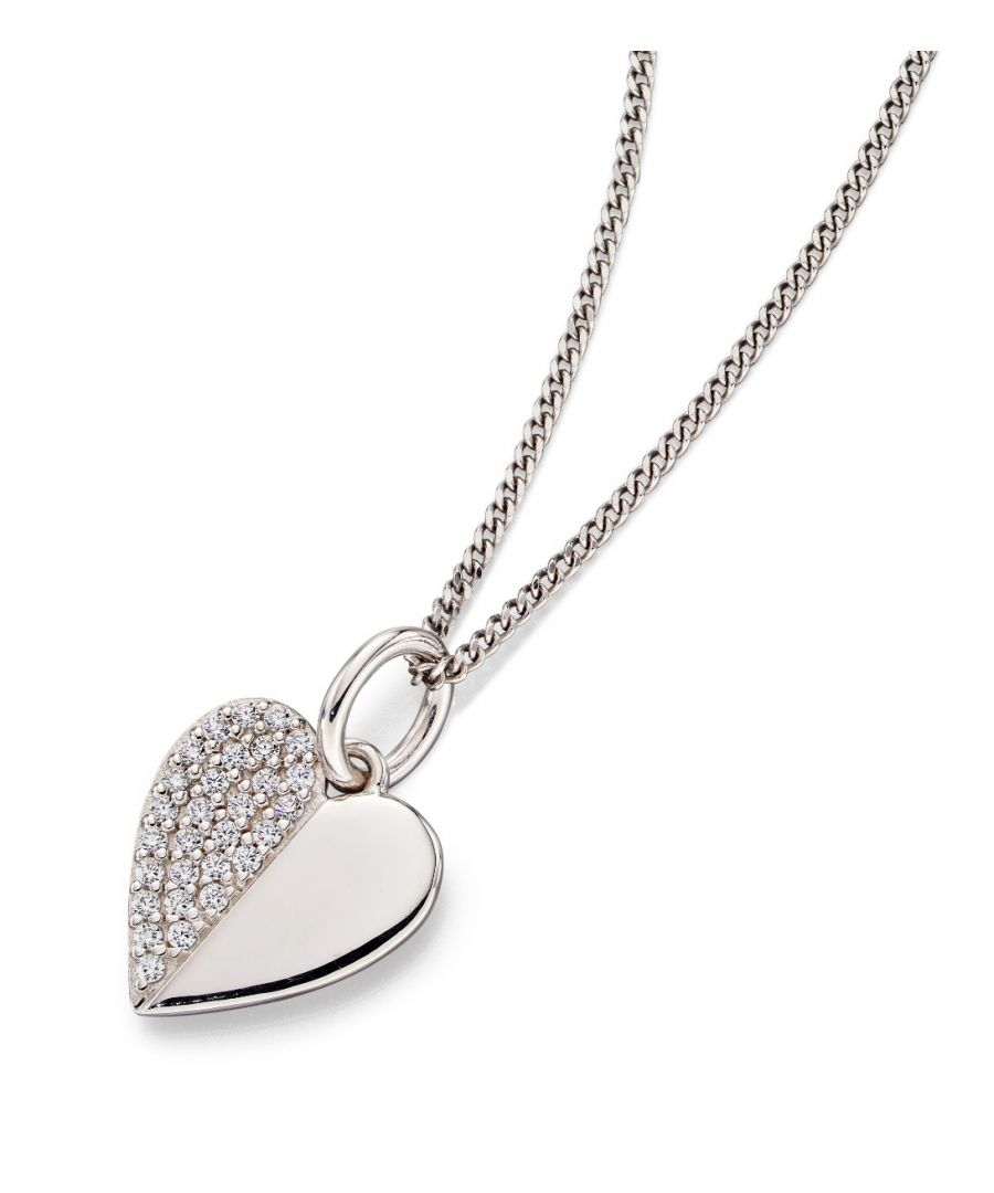Image for Fiorelli Silver Womens Rhodium Plated 925 Sterling Silver Pave Cubic Zirconia Heart Pendant Necklace Length 41cm + 5cm