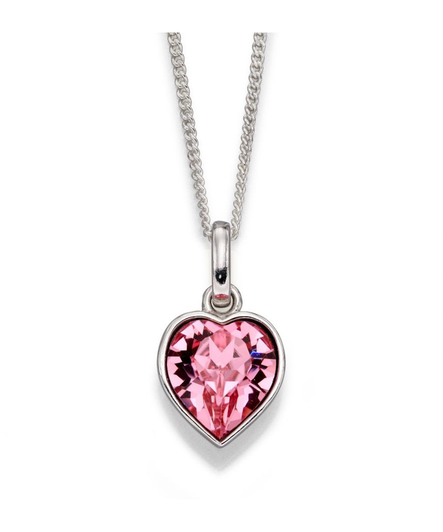 Image for Beginnings 925 Sterling Silver Ladies Heart Shaped Pink Crystal By Swarovski® Necklace of Length 41cm + 5cm Extender