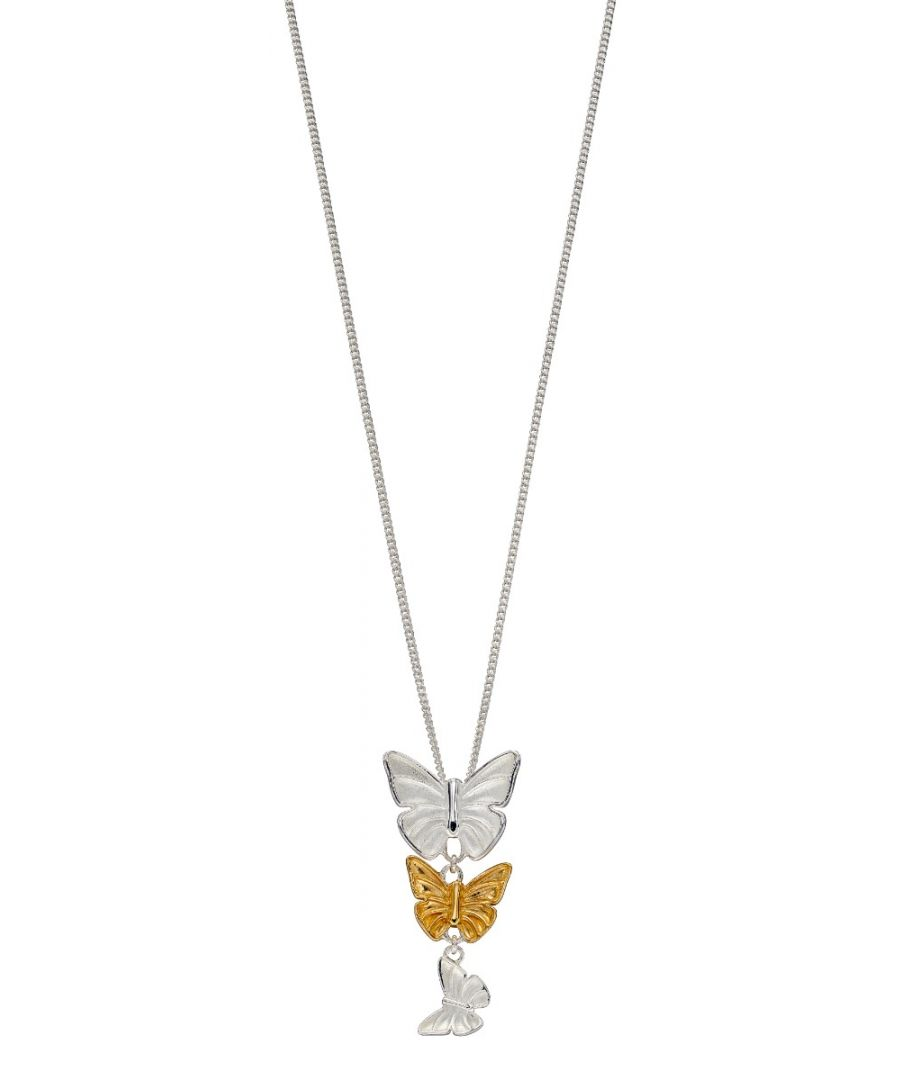Image for Elements Silver 925 Sterling Silver Ladies Three Butterfly Charm Pendant Necklace with Yellow Gold Plating Length 46cm
