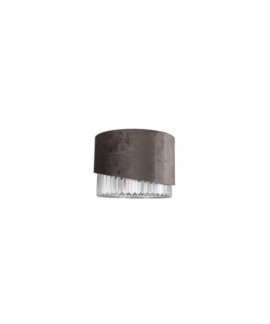 Image for Povey Grey Velvet Pendant Ceiling Light Shade