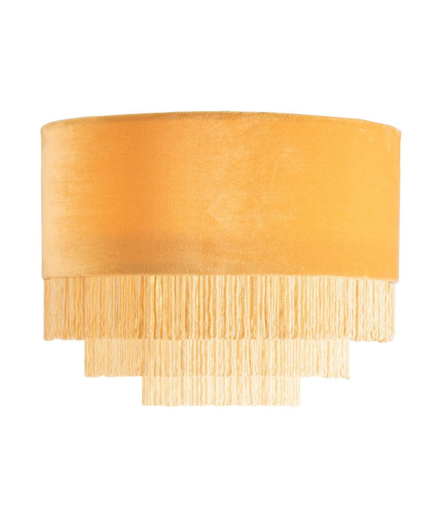 Image for Matei Ochre Velvet Tiered Tassle Pendant Ceiling Light Shade