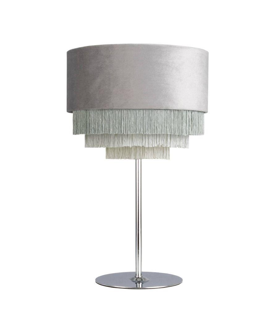 Image for Matei Grey Velvet Tiered Tassle 41cm Table Lamp