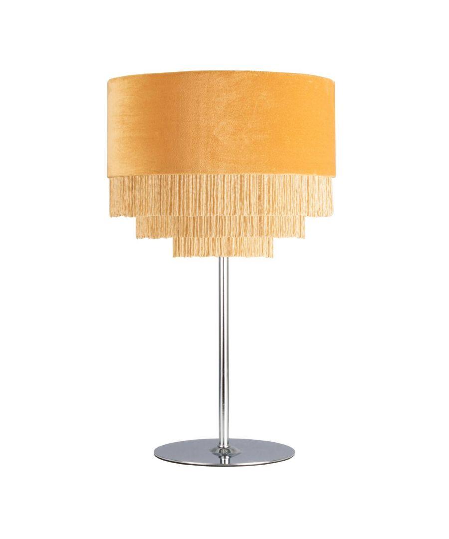 Image for Matei Ochre Velvet Tiered Tassle 41cm Table Lamp