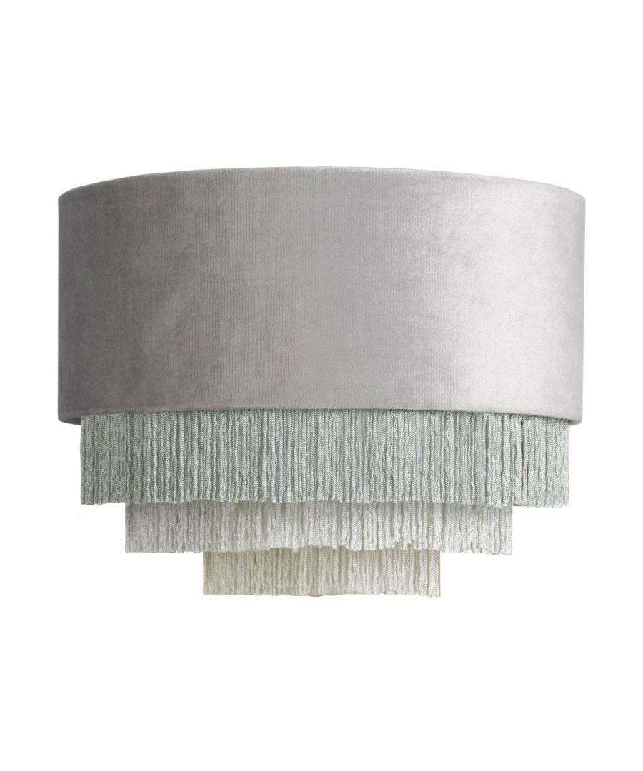 Image for Matei Grey Velvet Tiered Tassle Pendant Ceiling Light Shade