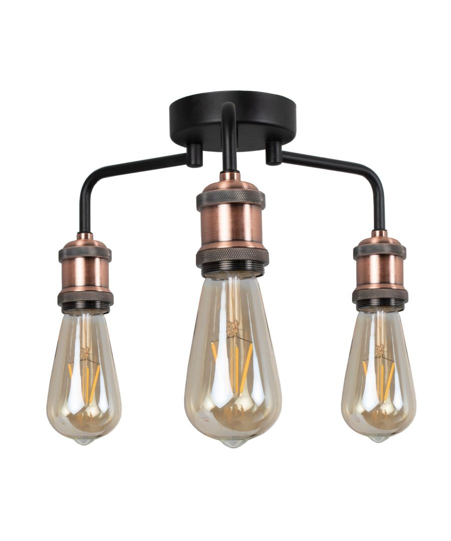 Image for Clark Matt Black and Copper 3 Light Semi Flush Ceiling Light