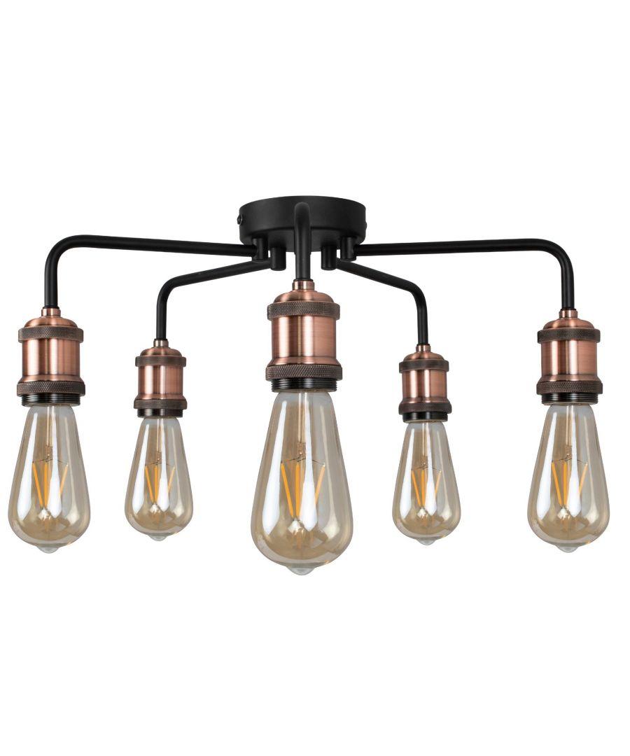 Image for Clark Matt Black and Copper 5 Light Semi Flush Ceiling Light