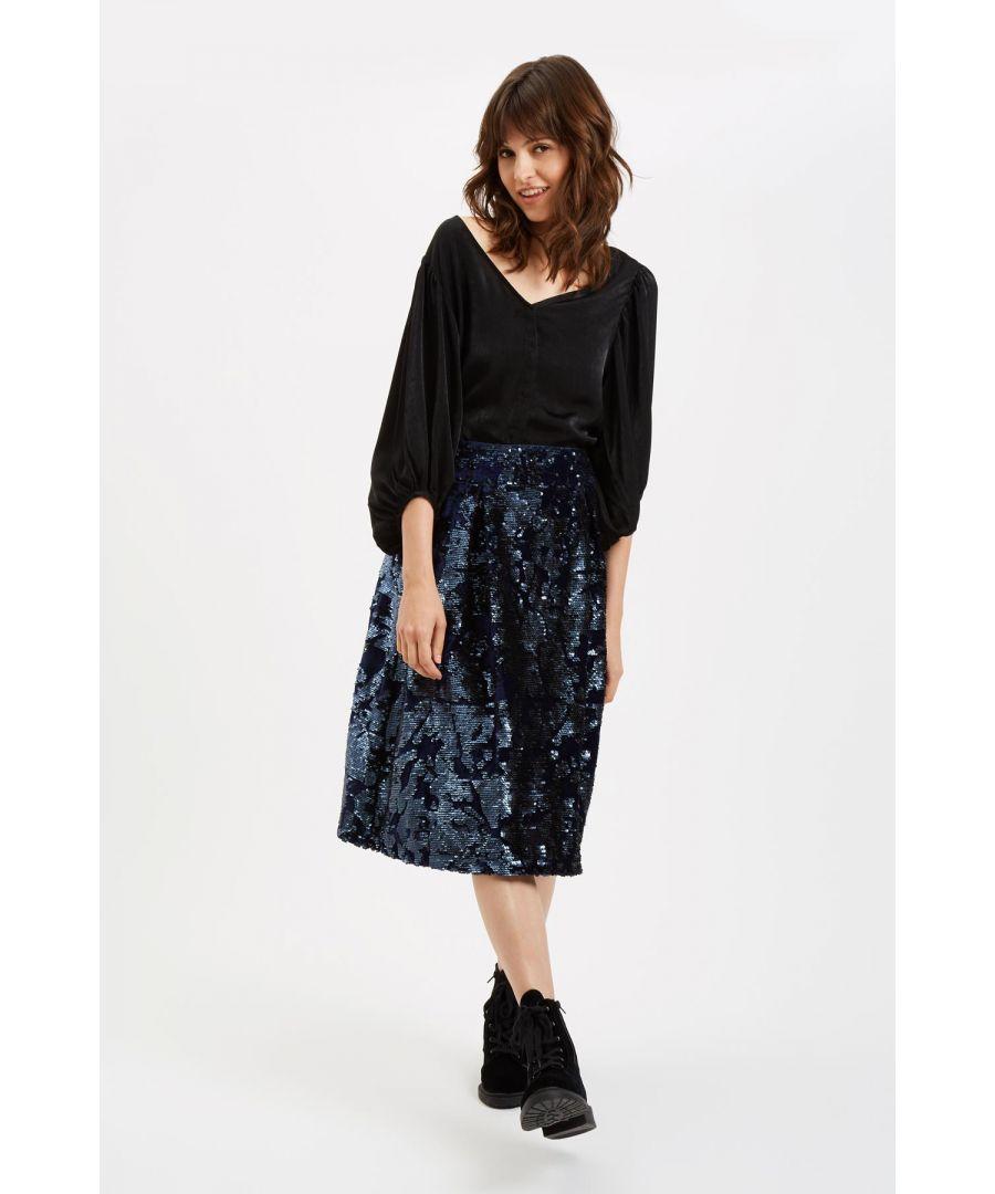 Image for Prom Sequin Midi Skirt in Navy Blue