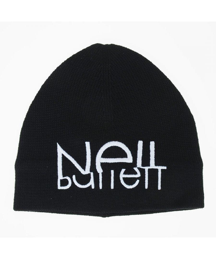 Image for Neil Barrett Sliced Logo Beanie Black Hat