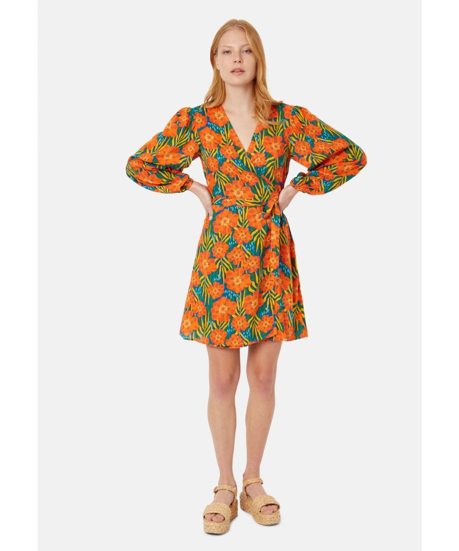 Image for Long Sleeve Mutiny Wrap Mini Dress in Multicoloured Floral Print
