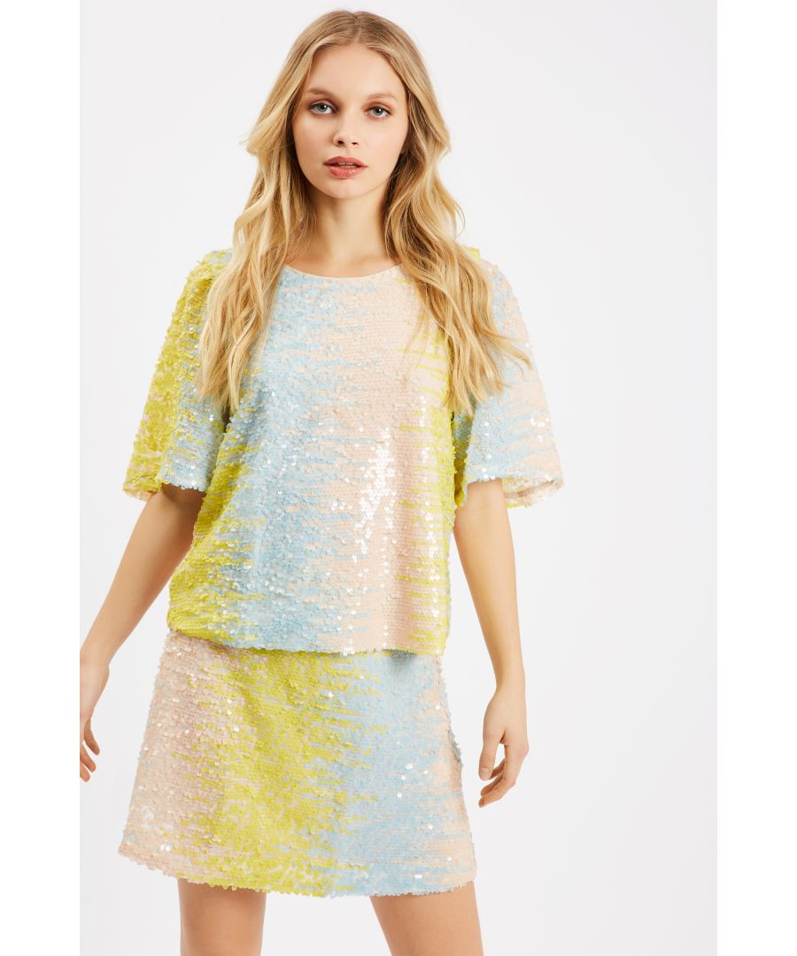 Image for Sequin Pastel Mini Skirt in Blue and Yellow
