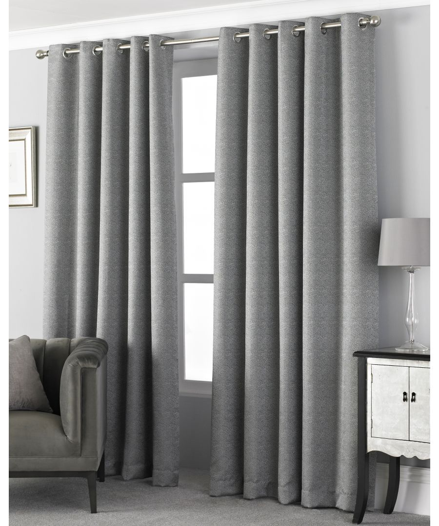 Image for Pendleton Textured Jacquard Eyelet Curtains in Graphite
