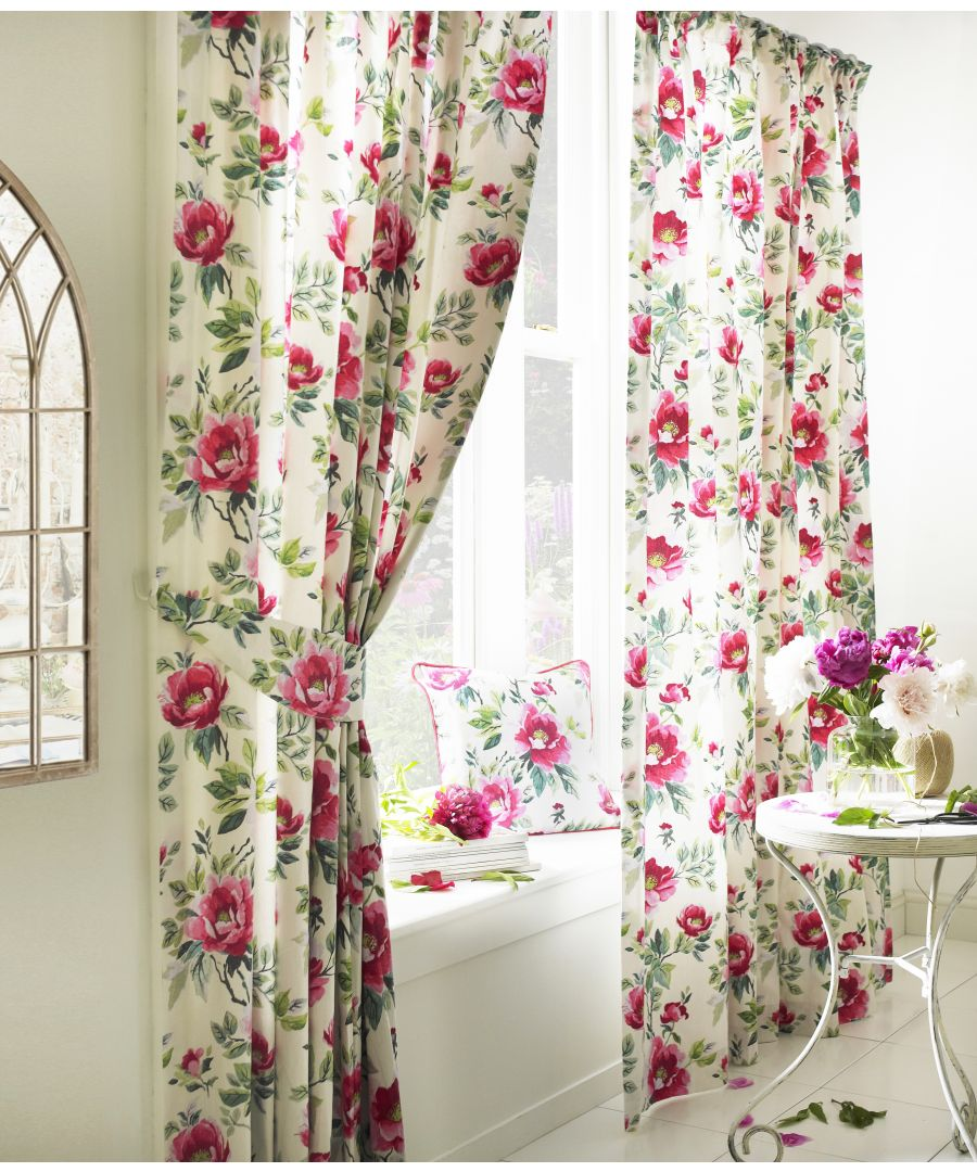 Image for Peony Printed Floral Pencil Pleat Curtains in Fuchsia