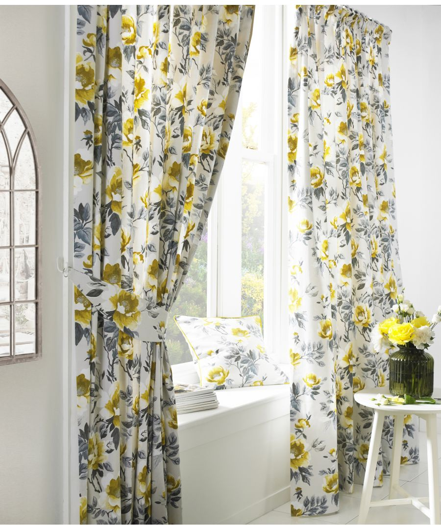 Image for Peony Printed Floral Pencil Pleat Curtains in Ochre