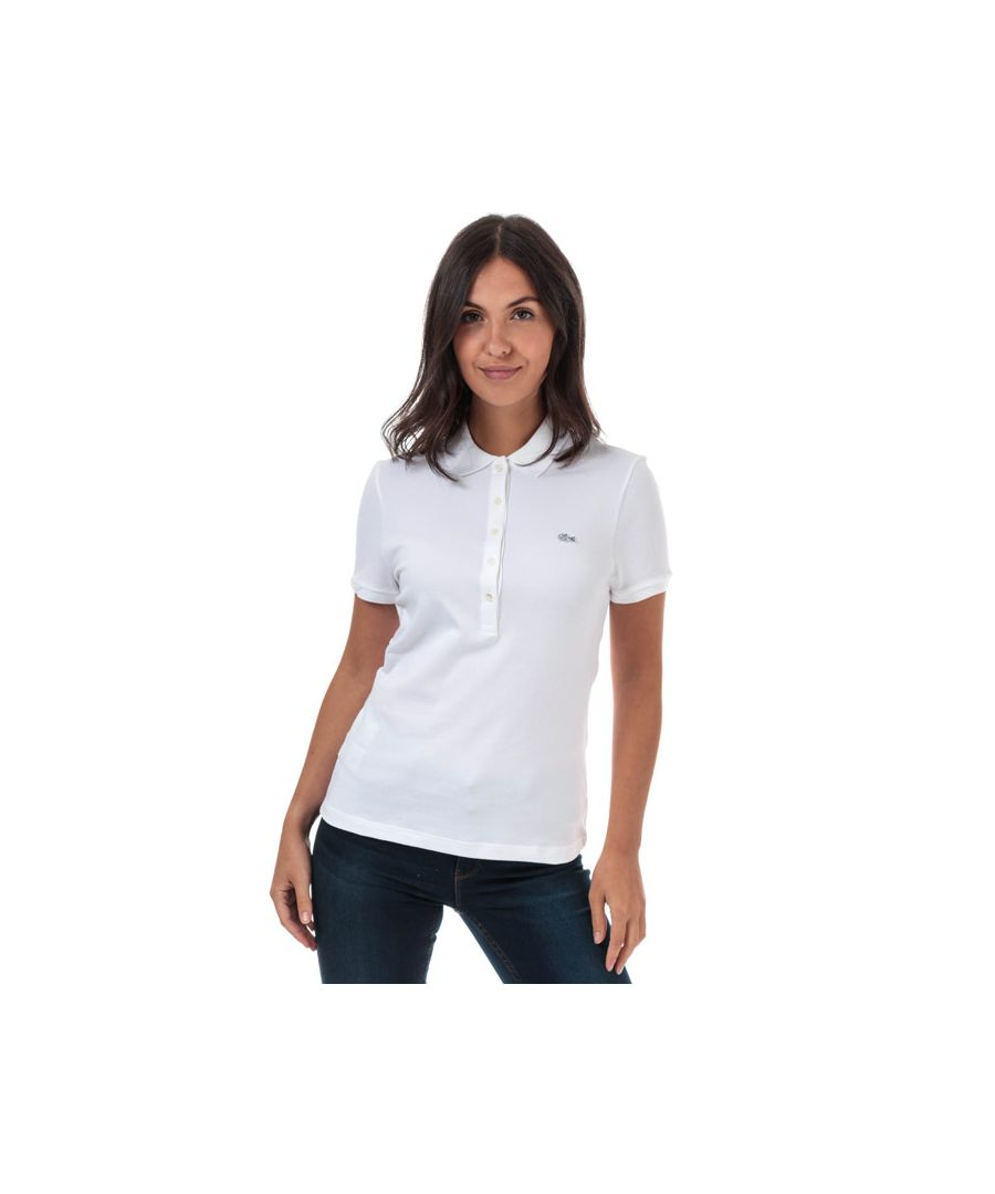 Image for Women's Lacoste Slim Fit Stretch Cotton Pique Polo Shirt in White