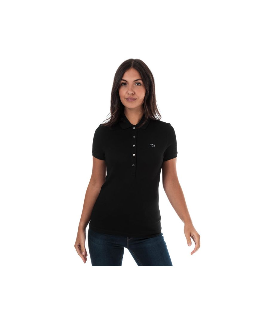 Image for Women's Lacoste Slim Fit Stretch Cotton Pique Polo Shirt in Black