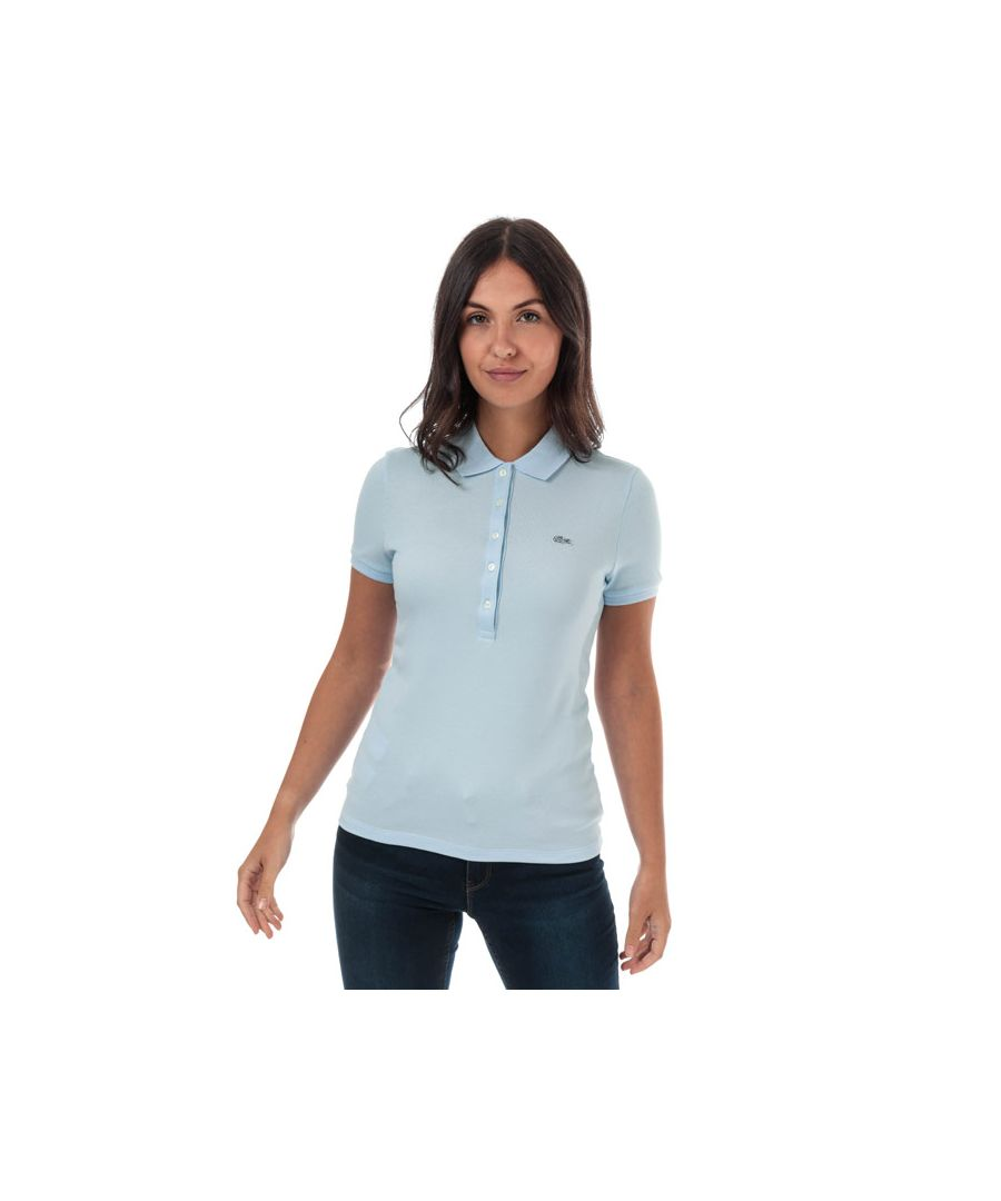 Image for Women's Lacoste Slim Fit Stretch Cotton Pique Polo Shirt in Light Blue