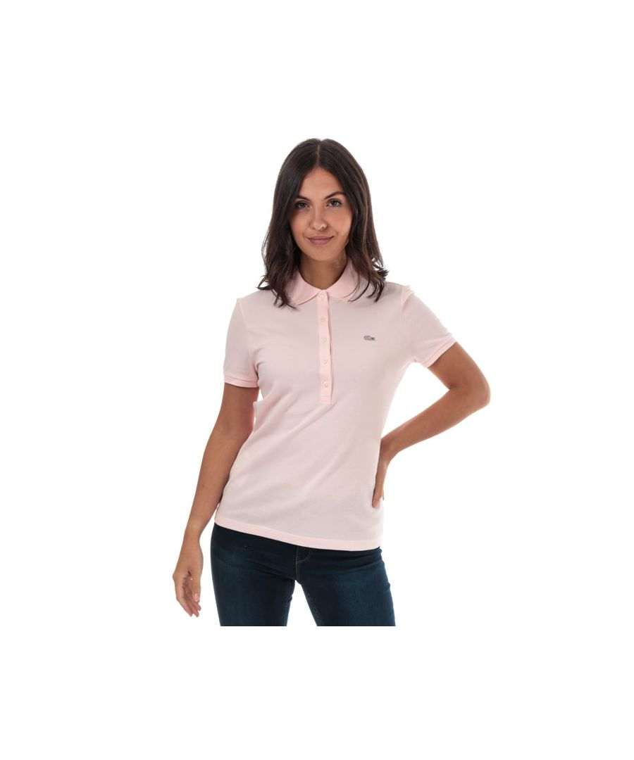 Image for Women's Lacoste Slim Fit Stretch Cotton Pique Polo Shirt in Pink