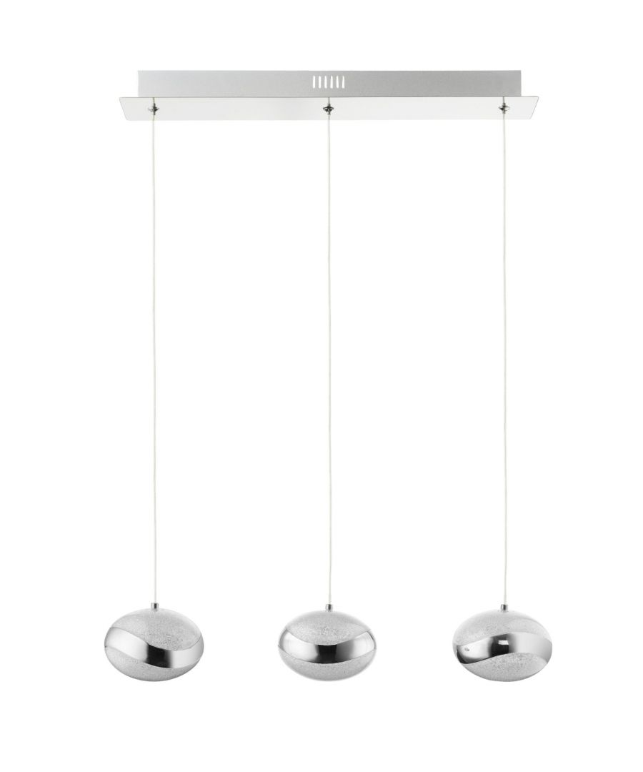 Image for Tarvi Cool White LED 3 Light Polished Chrome Ceiling Light Bar