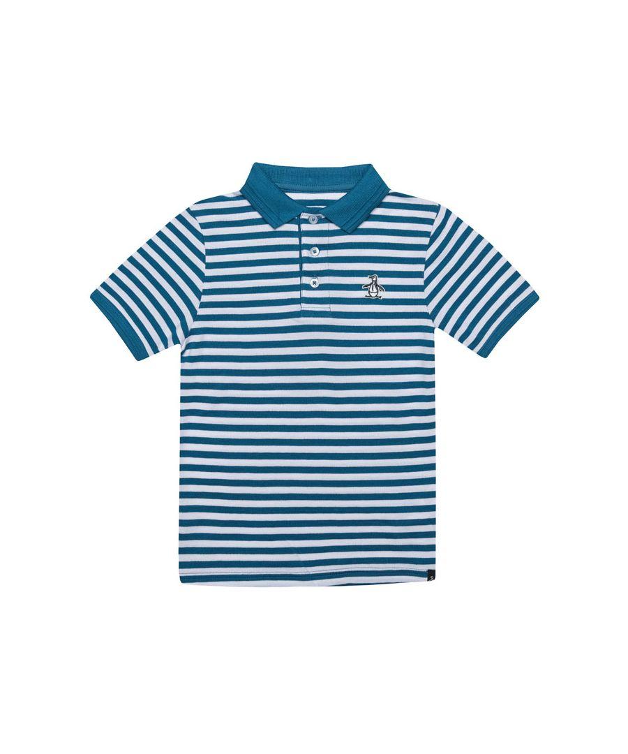 Image for Boy's Original Penguin Junior Stripe Polo Shirt in Blue-White