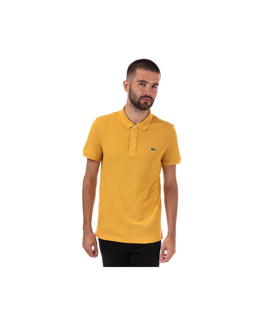 Image for Men's Lacoste Slim Fit Petit Piqué Polo Shirt in Yellow