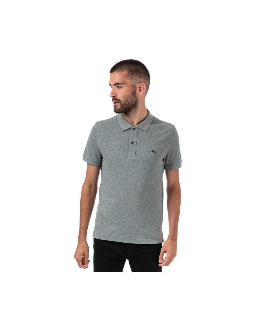 Image for Men's Lacoste Slim Fit Petit Piqué Polo Shirt in Grey