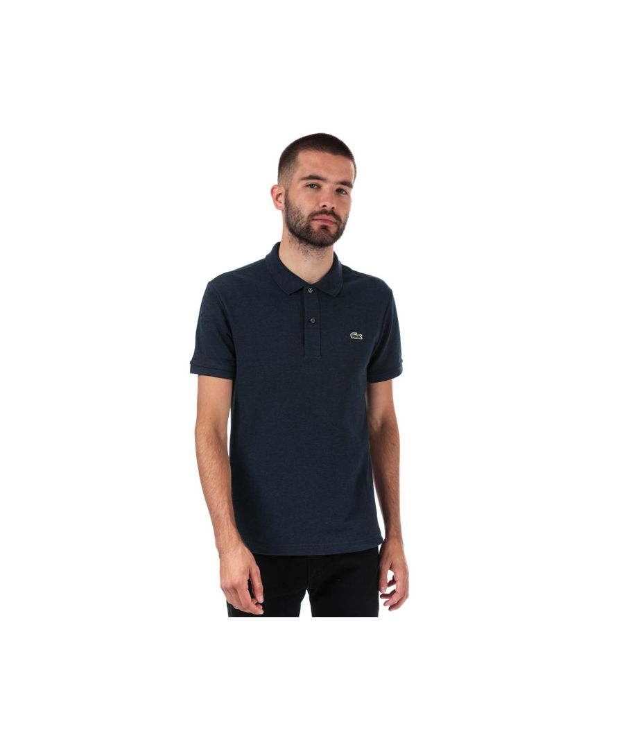 Image for Men's Lacoste Slim Fit Petit Piqué Polo Shirt in Blue