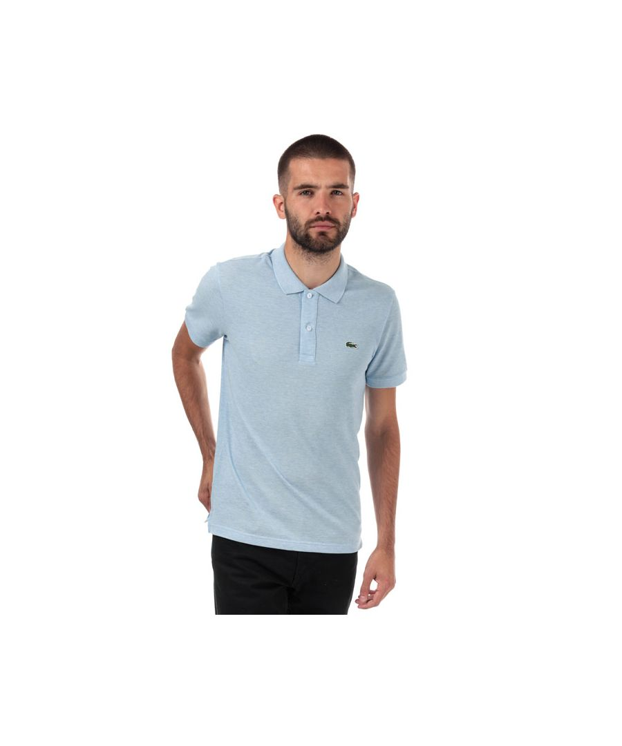 Image for Men's Lacoste Slim Fit Petit Piqué Polo Shirt in Light Blue