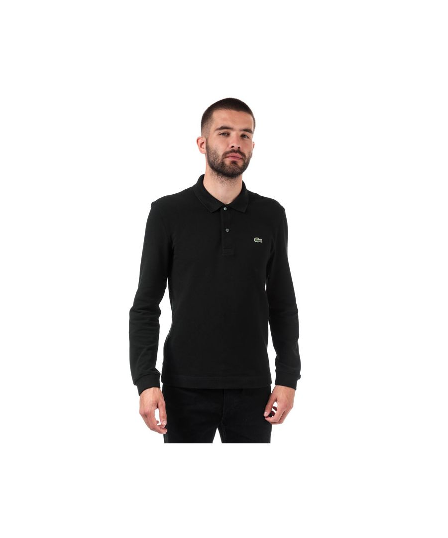 Image for Men's Lacoste Slim Fit Long Sleeve Polo in Black