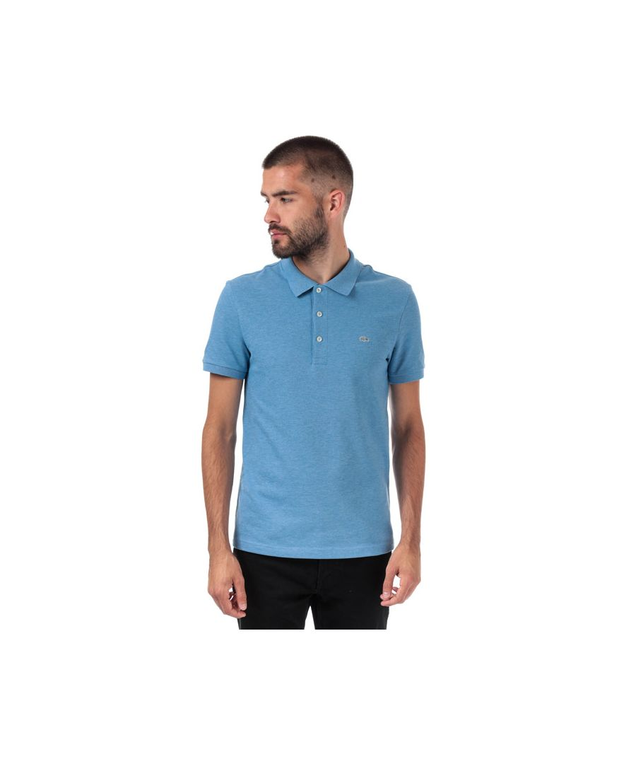 Image for Men's Lacoste Slim Fit Petit Piqué Polo Shirt in Blue Marl
