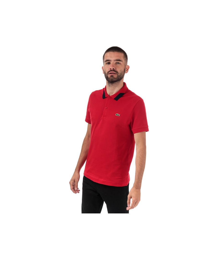 Image for Men's Lacoste Regular Fit Stretch Pima Piqué Polo Shirt in Red