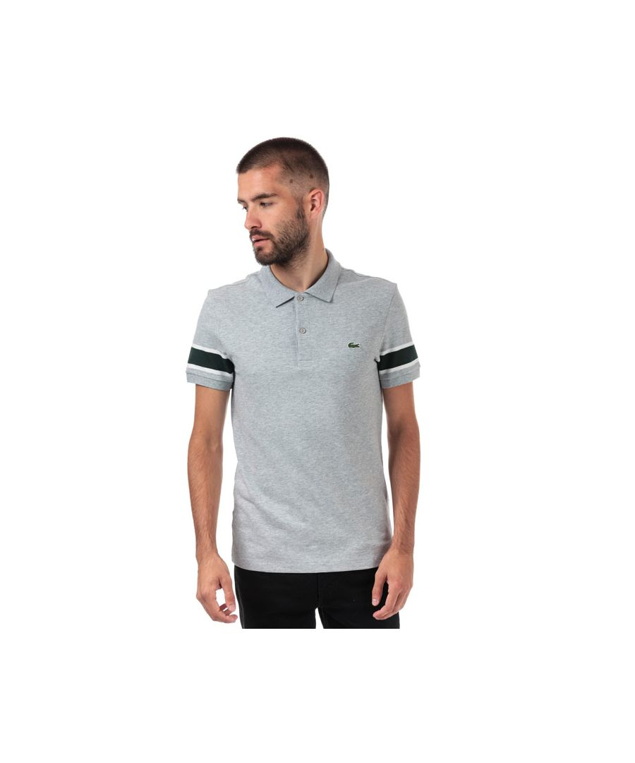 Image for Men's Lacoste Slim Fit Striped Cotton Piqué Polo Shirt in Grey