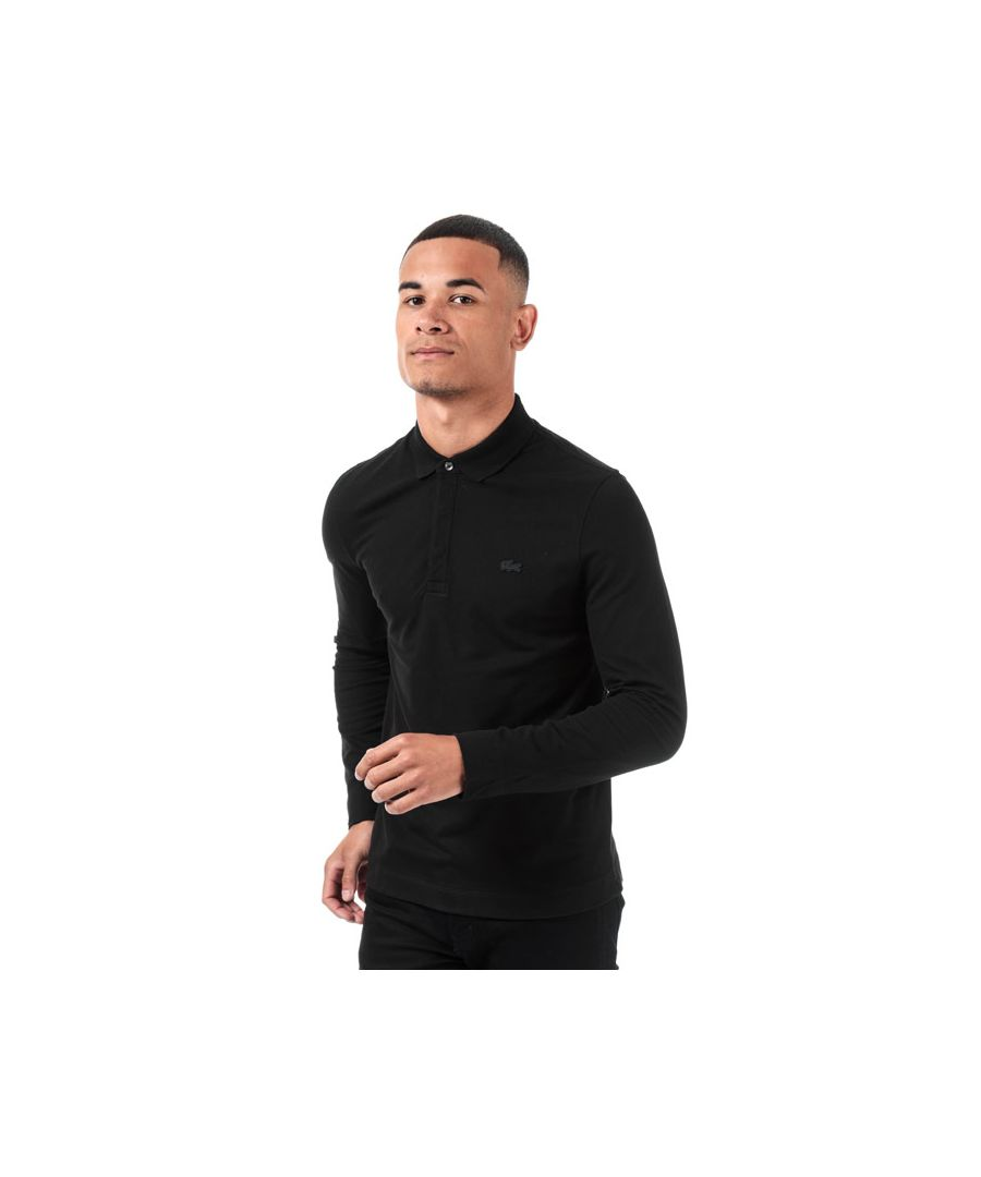 Image for Men's Lacoste Regular Fit Paris Long Sleeve Polo in Black
