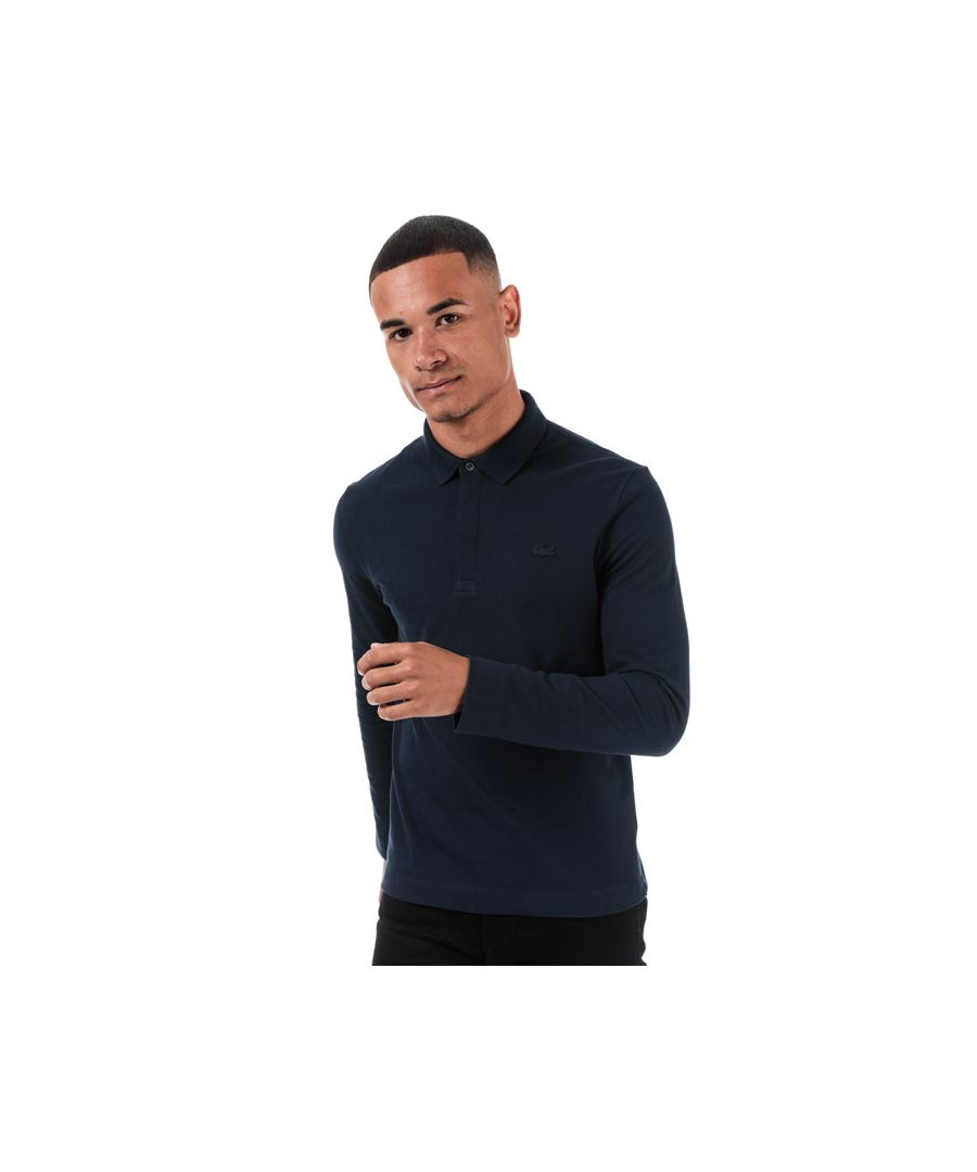 Image for Men's Lacoste Regular Fit Paris Long Sleeve Polo in Navy