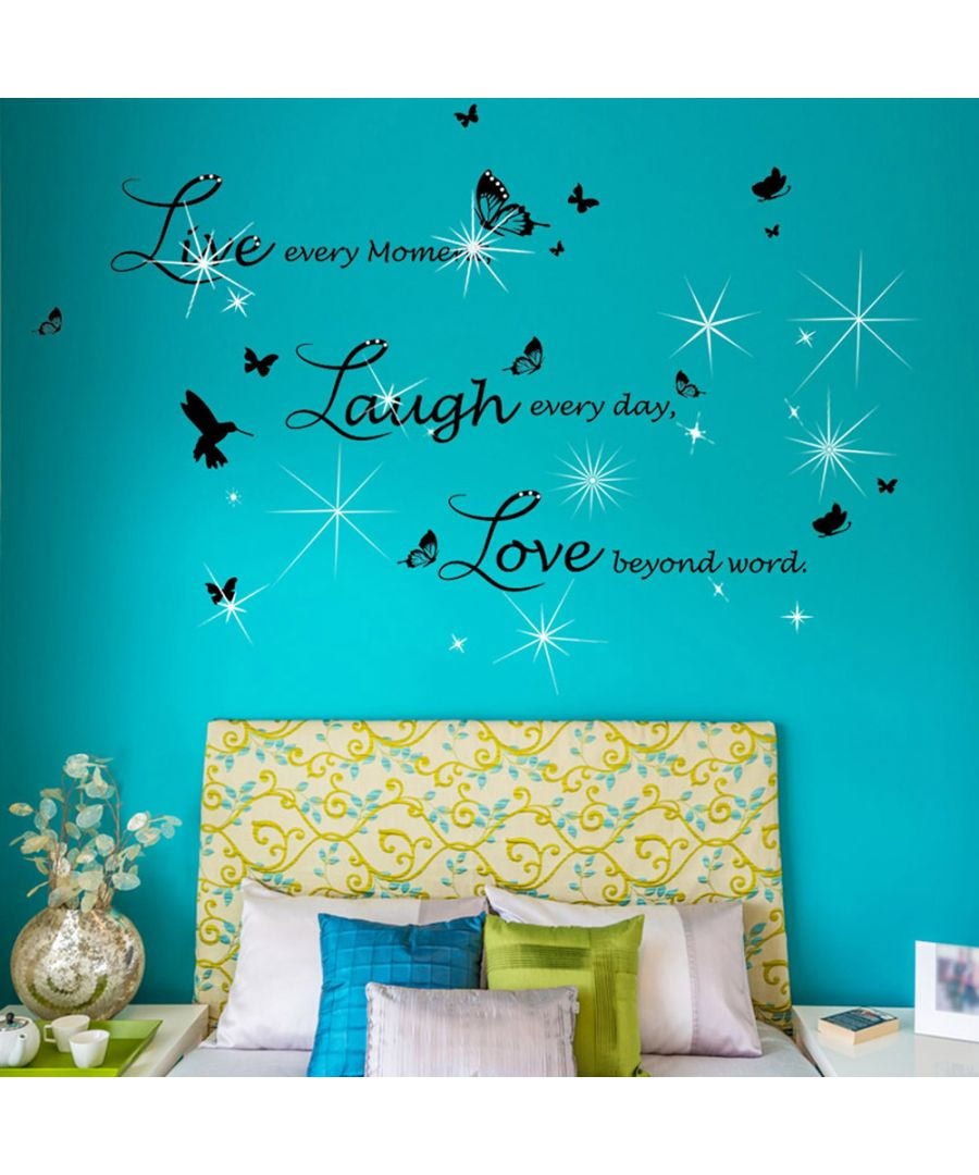 Image for Walplus Live Laugh Love in Lucida Handwriting with Swarovski Crystals