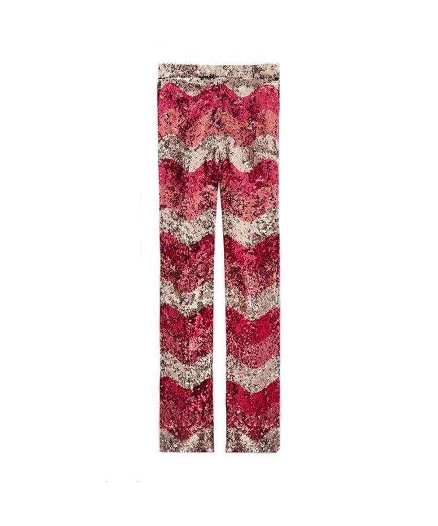 Image for Gucci Sequin Snake Straight Leg Pants in Red