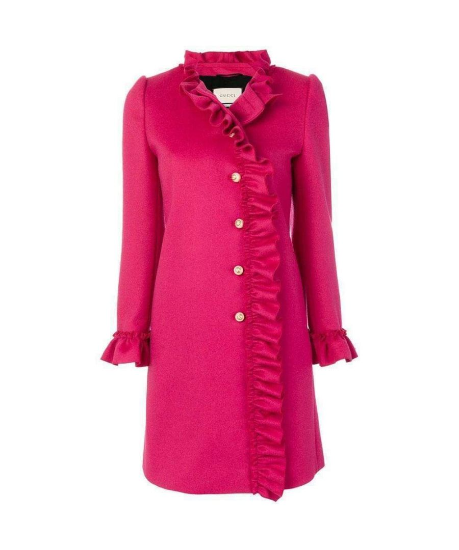 Image for Gucci Pink Ruffle-trim Wool Coat