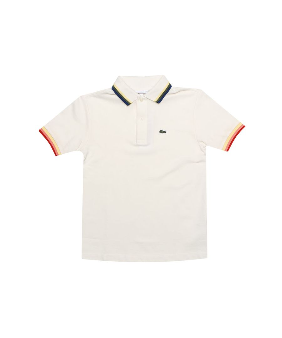 Image for Boy's Lacoste Infant Tipped Collar Polo Shirt in White