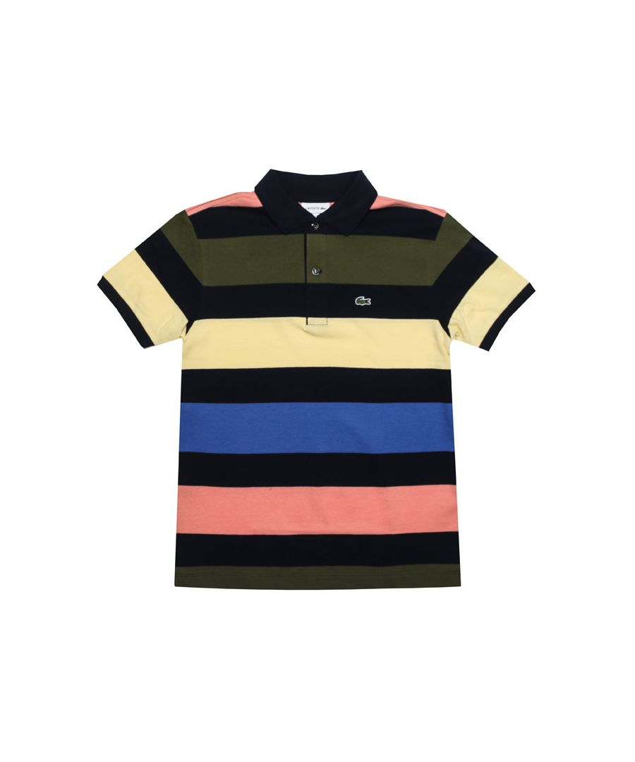 Image for Boy's Lacoste Junior Striped Polo Shirt in Navy