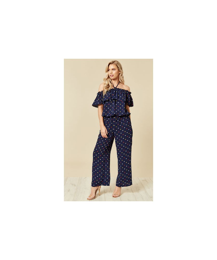 Image for Fifi Halterneck Polka Dot Jumpsuit in Navy
