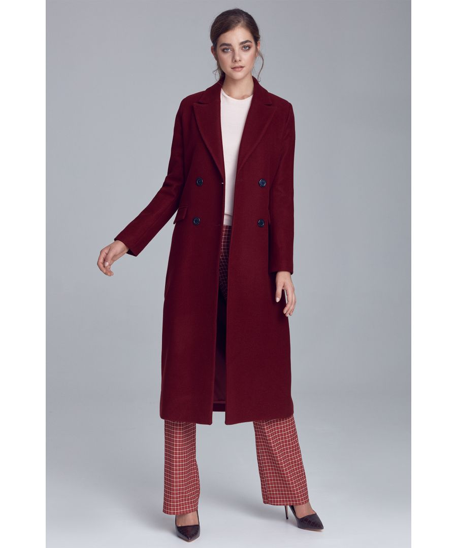 Image for Double-row buttoned coat - claret