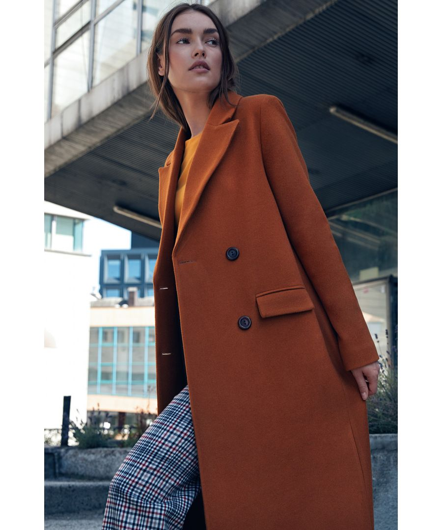 Image for Double-row buttoned coat - honey