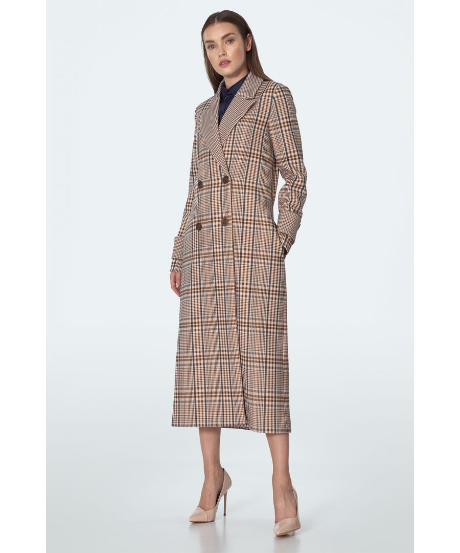 Image for Double breasted coat in beige checkered