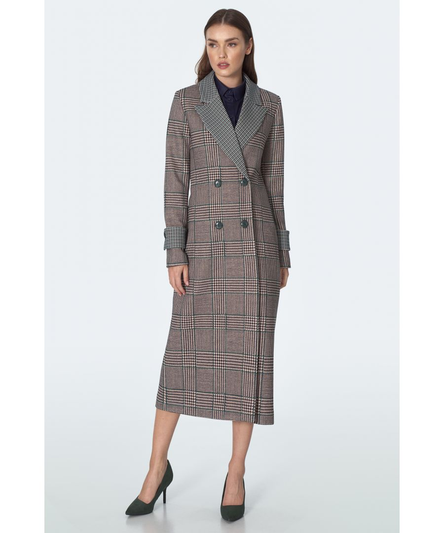 Image for Double breasted coat with pattern