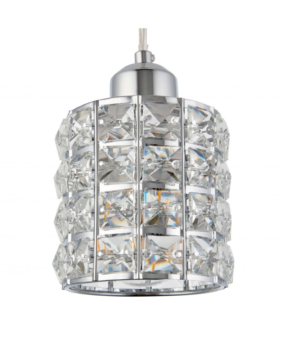 Image for Bea Small Polished Chrome and Crystal Cylindrical Ceiling Light Shade