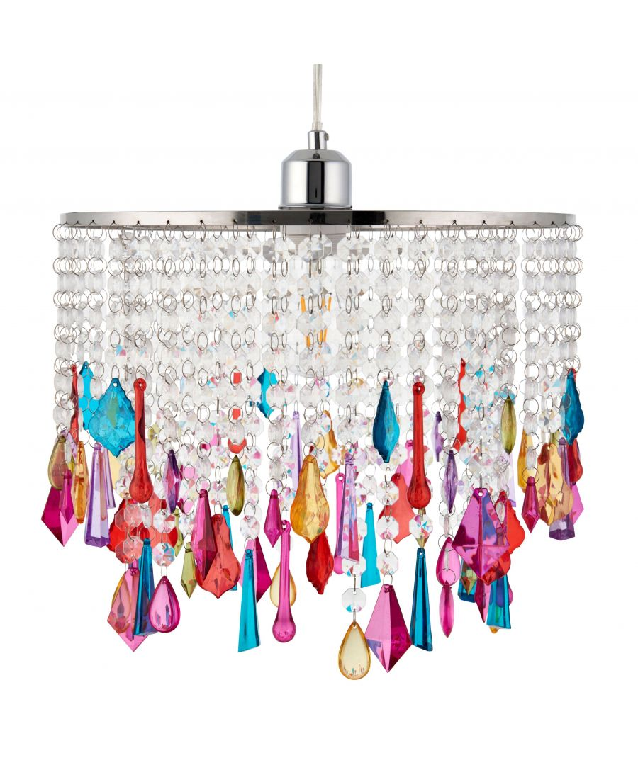 Image for Waller 32cm Clear and Multi Coloured Acrylic Droplets Ceiling Light Shade
