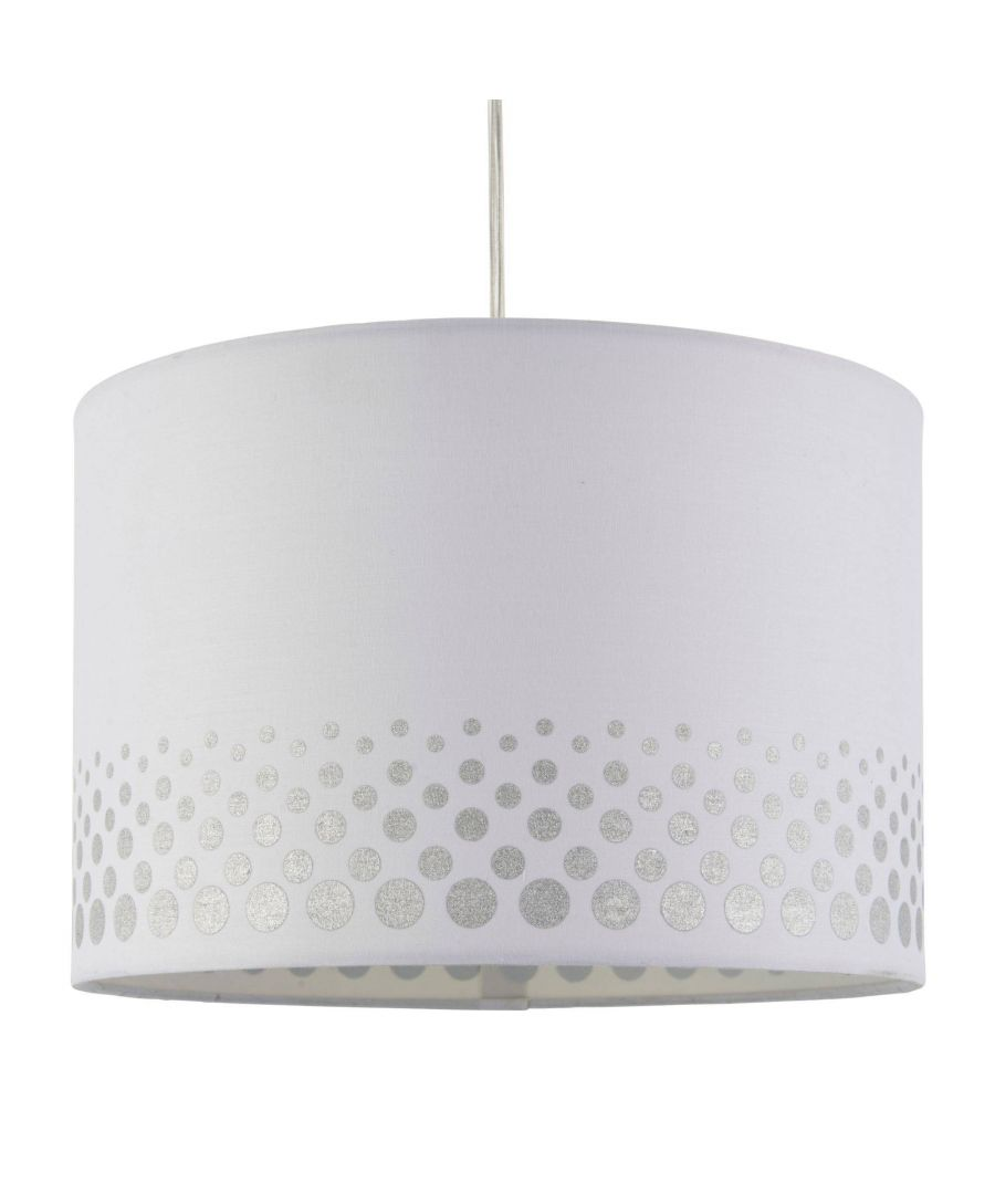 Image for Inia 30cm White and Silver Spotted Cotton Drum Shade