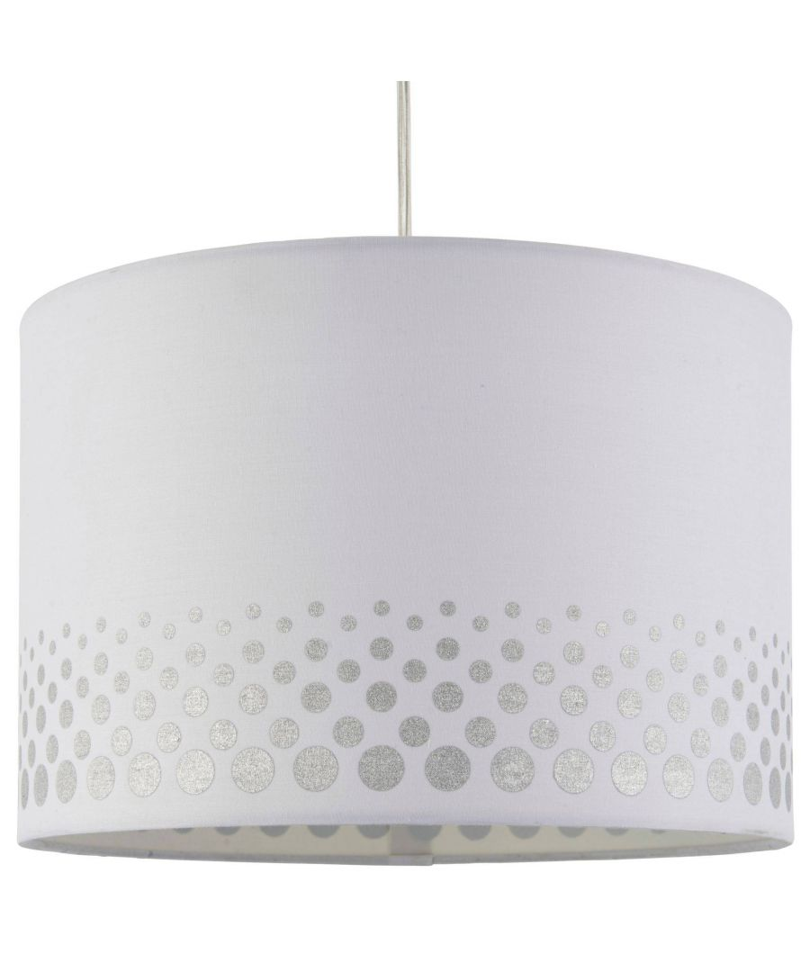 Image for Inia 40cm White and Silver Spotted Cotton Drum Shade