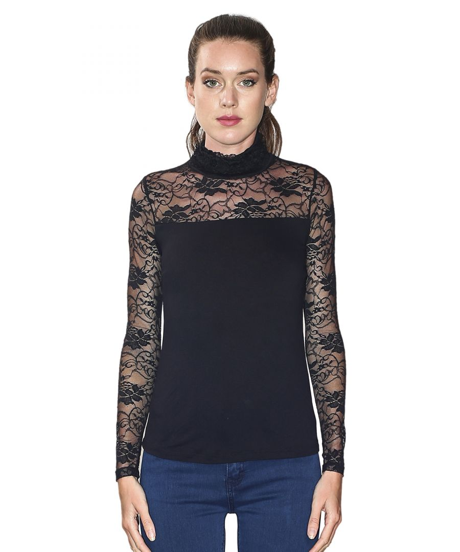 Image for Assuili Ruffle Neck Long Sleeve Lace Top in Black