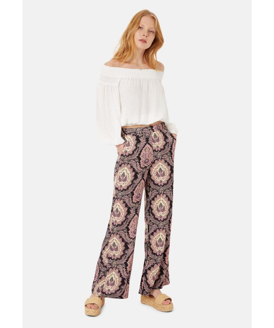 Image for Paisley Straight Leg Trousers in Black and Purple